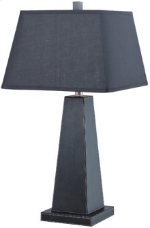 Table Lamp, Black Leather/black Fabric Shade, Type A 150w