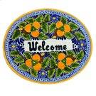 'Welcome' Ceramic Plaque in Peaches Product Image