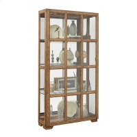 Windowpane Sliding Door Curio Cabinet in Hickory Brown Product Image