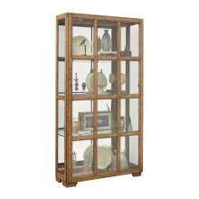 Windowpane Sliding Door Curio Cabinet in Hickory Brown