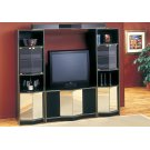 TV STAND - BLACK / BRASS HOME THEATER WITH MIRROR DOORS Product Image