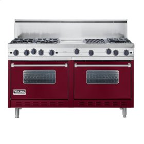 "Burgundy 60"" Open Burner Commercial Depth Range - VGRC (60"" wide, six burners 12"" wide griddle/simmer plate 12"" wide char-grill)"