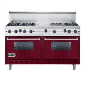 """Burgundy 60"""" Open Burner Commercial Depth Range - VGRC (60"""" wide, six burners 12"""" wide griddle/simmer plate 12"""" wide char-grill)"""
