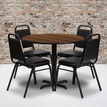 36'' Round Walnut Laminate Table Set with X-Base and 4 Black Trapezoidal Back Banquet Chairs