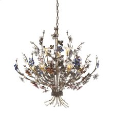Brillare 9-Light Chandelier in Brozed Rust with Multi-Colored Floral Crystals