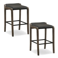 Graystone Wood Fastback Bar Height Stool with Black Faux Leather Seat #10117GS/BL - Set of 2