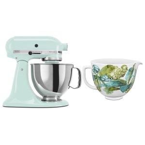 KitchenaidExclusive Artisan® Series Stand Mixer & Patterned Ceramic Bowl Set - Ice