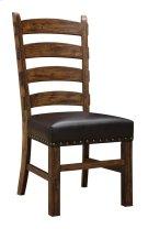 Ladderback Side Chair W/dark Brown Pu Uph Seat & Nailhead Trim Product Image