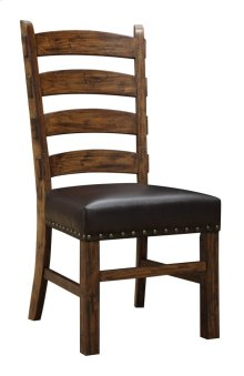 Ladderback Side Chair W/dark Brown Pu Uph Seat & Nailhead Trim