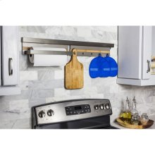 """Hanging Paper Towel Holder for Smart Rail Storage Solution. Use with Either SRSS999-LED or SRSS999 Smart Rail. Stylish Brushed Aluminum Finish with Bamboo Accent. 15-3/4"""" x 5-3/16"""" x 4"""""""