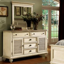 Coventry Two Tone - Shutter Door Dresser - Weathered Driftwood/dover White Finish