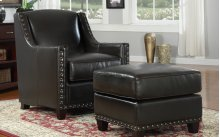 Ottoman Bonded Leather Dark Brown