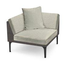 """36"""" Outdoor Dark Grey Rattan Corner Sofa Sectional, Upholstered in Standard Outdoor Fabric"""