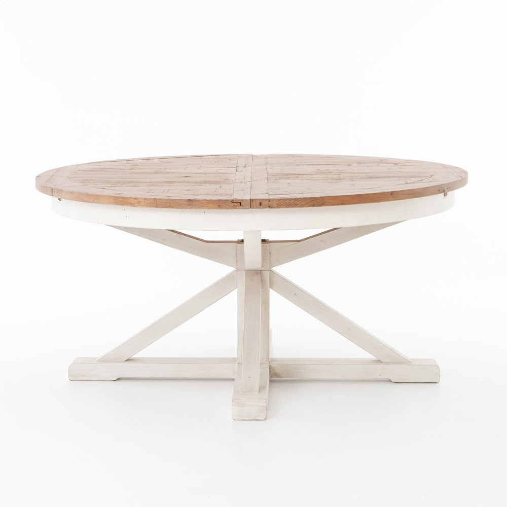 63 Size Driftwood Natural Limestone White Finish Cintra Extension Dining Table