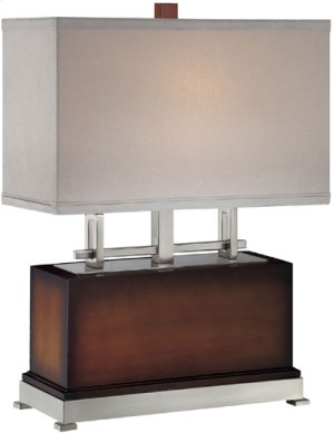 Table Lamp, Ps/dark Walnut/suede Shade, E27 Type Cfl 23w