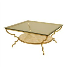 Gilded Iron Cocktail Table, Onyx Marble Shelf, Beveled Glass Top