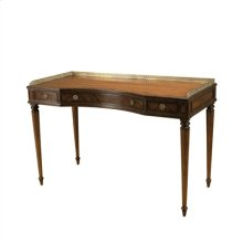 Aged Regency Finished Mahogany Writing Table, Veneer Top, Pompeian Brass Mounts
