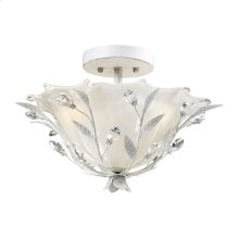 Circeo 2-Light Semi Flush in Antique White with Crystal and White Shade