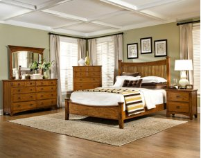 Slat Queen Bed, Headboard