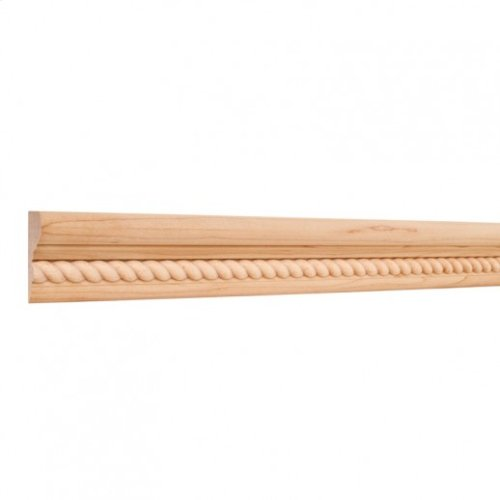 """2"""" X 1-1/8"""" Flat Back Crown Moulding with 1/2"""" Rope Species: Hard Maple. Priced by the linear foot and sold in 8' sticks in cartons of 120'."""