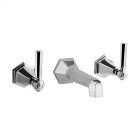 Waldorf Metal Lever Wall Mounted Widespread Lavatory Faucet Trim - Polished Nickel