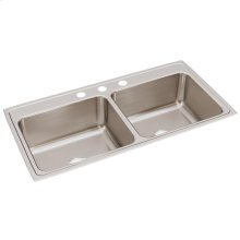 "Elkay Lustertone Classic Stainless Steel 43"" x 22"" x 10-1/8"", Equal Double Bowl Drop-in Sink"