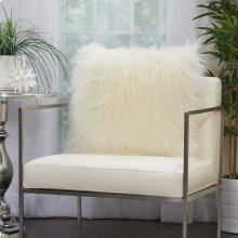 """Faux Fur Bj101 White 20"""" X 20"""" Throw Pillows"""