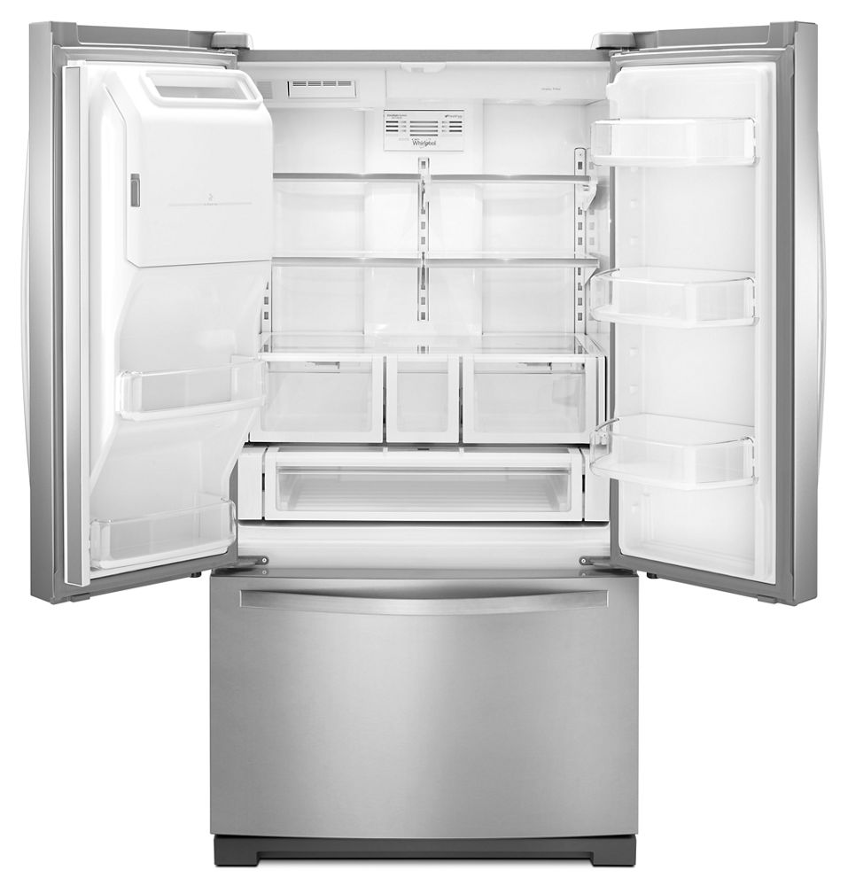 36 inch wide french door bottom freezer refrigerator with for Wide french doors