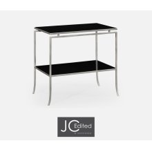 Silver Iron Rectangular Side Table with A Black Glass Top