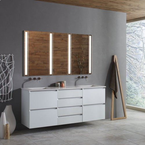 "Cartesian 24-1/8"" X 7-1/2"" X 21-3/4"" Slim Drawer Vanity In Tinted Gray Mirror With Slow-close Tip Out Drawer and Night Light In 5000k Temperature (cool Light)"
