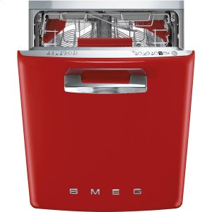 "SmegApprox 24"" Pre-finished Under-Counter Dishwasher with 50'S Style Retro handle, Red"