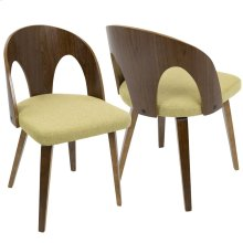 Ava Dining Chair - Walnut Wood, Yellow Fabric