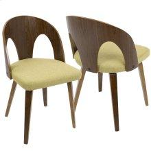 Ava Dining Chair - Walnut Wood, Yellow Fabric