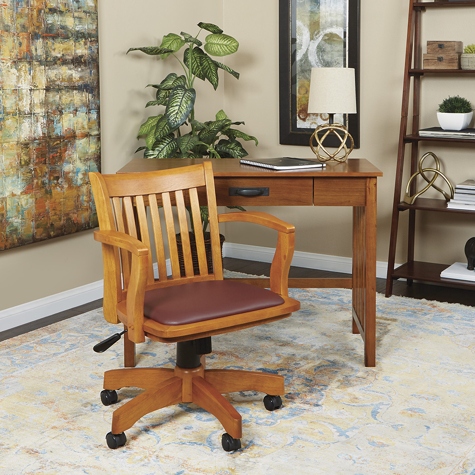hidden additional deluxe wood chair with vinyl padded seat in fruit wood finish with brown vinyl