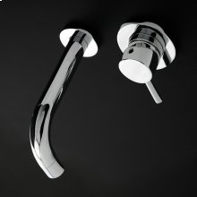 Wall-mount two-hole faucet with one lever handle on the right, no backplate. Includes rough-in and trim.