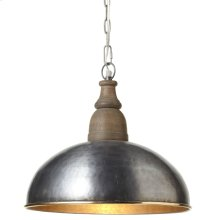Small Gold Rim Pendant Turned Wood Top. 100W Max. Plug-in with Hard Wire Kit Included.