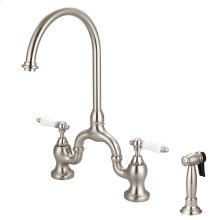 Banner Kitchen Bridge Faucet with Porcelain Lever Handles - Brushed Nickel