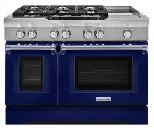 48'' 6-Burner with Griddle, Dual Fuel Freestanding Range, Commercial-Style - Cobalt Blue