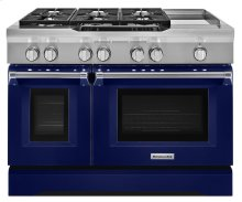 48'' 6-Burner with Griddle, Dual Fuel Freestanding Range, Commercial-Style - Cobalt Blue