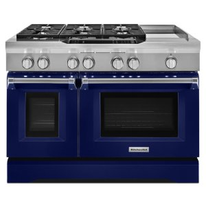Kitchenaid48'' 6-Burner with Griddle, Dual Fuel Freestanding Range, Commercial-Style - Cobalt Blue