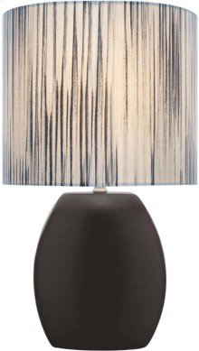 Ceramic Table Lamp, Black/colored Fabric Shade E27 Cfl 13w
