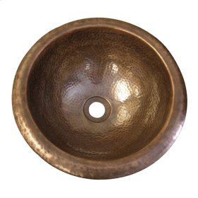 Large Round Self Rimming Basin - Hammered Pewter