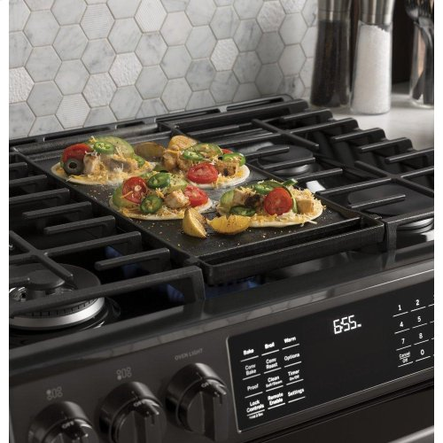 """GE Profile™ 30"""" Smart Slide-In Front-Control Gas Double Oven Convection Range"""
