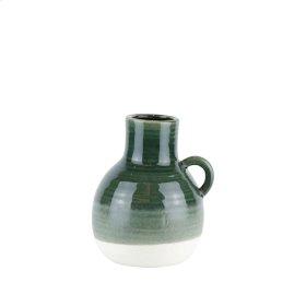"Ceramic Handle Vase, 8.5"" Green"