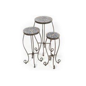 Tremiti Round Plant Stands w/ Ceramic Tile Top & Iron Base - Set of 3