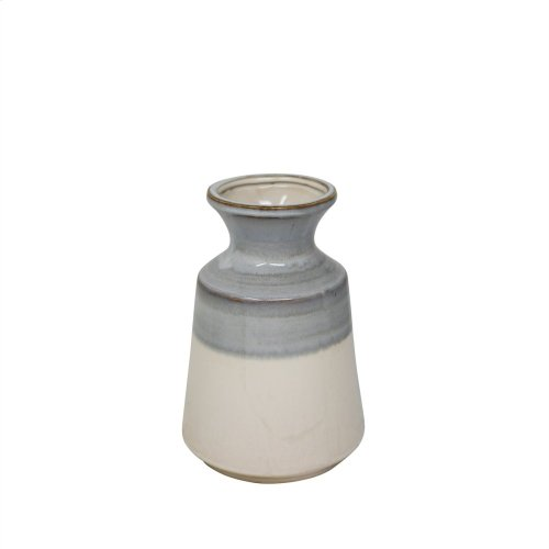 "Ceramic 8.75"" Vase, Gray/white"