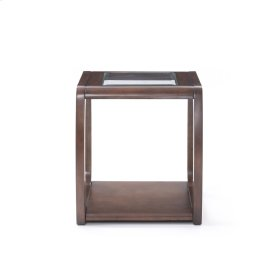 Emerald Home Regent Square End Table W/glass Top and Wood Legs Dark Walnut T803-01