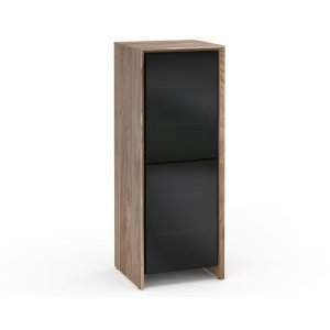 Salamander DesignsBarcelona 617, Single-Width Audio Cabinet, Natural Walnut with Black Glass Doors