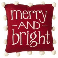"""""""Merry and Bright"""" Knit Pillow with Pom Poms."""