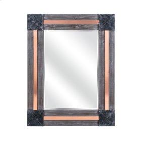 Kristjana Rectangular Wooden Mirror with Metal Accents